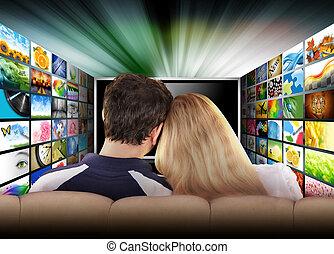 film, televisie, mensen, scherm, schouwend