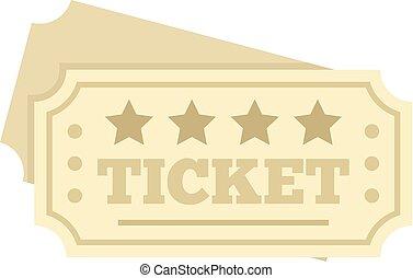 Film ticket icon, flat style