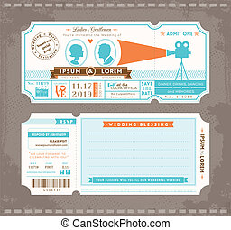 film, trouwfeest, ontwerp, mal, uitnodiging, ticket