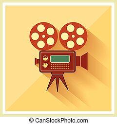 film, vecteur, vidéo, retro, fond, appareil photo