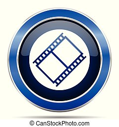 Film vector icon. Modern design blue silver metallic glossy web and mobile applications button in eps 10