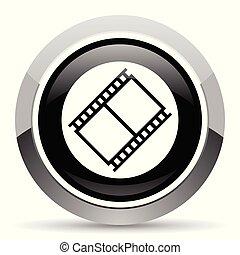 Film vector steel icon. Chrome border round web button. Silver metallic pushbutton.
