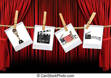 film, verwant, fabriekshal, studio, items, film