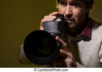 film, vieux, appareil-photo., homme