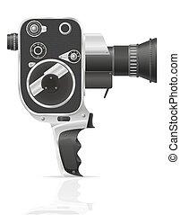 film, vieux, appareil photo, vidéo, retro