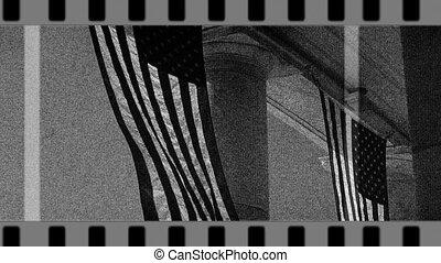 film, vieux, drapeaux, piliers