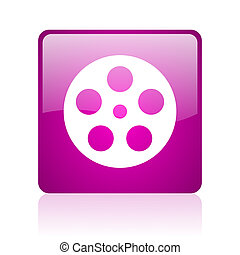 film violet square web glossy icon