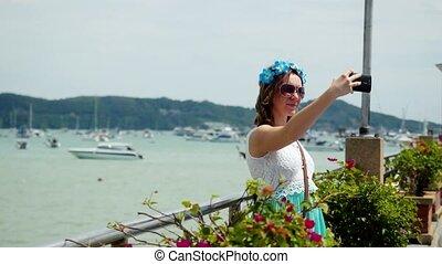 film, virág, neki, vacation., bevétel, fiatal, haj, nő, meglehetősen, 3840x2160, selfie
