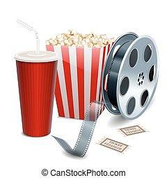 film, visande, med, popcorn, filma rullen, och, drycken