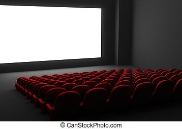 film, vrijstaand, theater, interior.