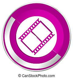 Film web design violet silver metallic border internet icon.