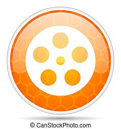 Film web icon. Round orange glossy internet button for webdesign.