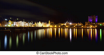 film, willemstad, kuraszó, város, panoráma, nighttime