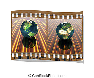 film with 3D globe