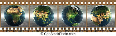 film with 4 images of the earth isolated on a white