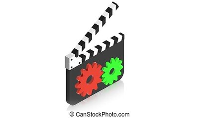 film with sign - 3D animation of a simple objects for use in...