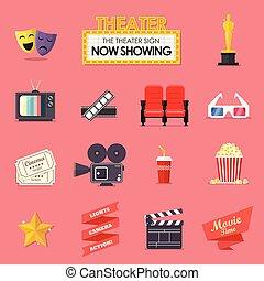 film wystawiają, film, ikony