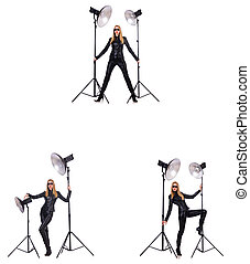 filma, kvinna, collage, foto, isolerat, under, vit