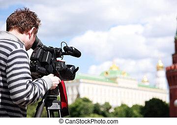 filmando, cameraman