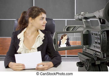 filmar, hembra, reportero