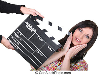 filmar, preparando, toma, actriz, luego