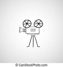 filme, ícone, câmera, mão, desenhado