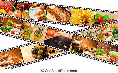 filme, alimento, montaje, menú, ensalada, pastas, bread