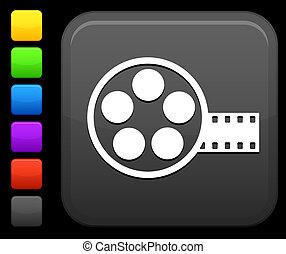 filme canister, ícone, ligado, quadrado, internet, botão