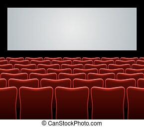 filme, corredor, com, vermelho, assentos, e, tela branco,...