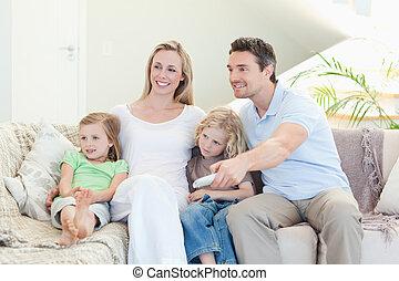 filme, desfrutando, família, feliz