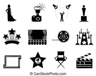 filme, e, oscar, símbolo, ícones