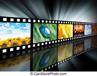 filme, entretenimento, bobina película