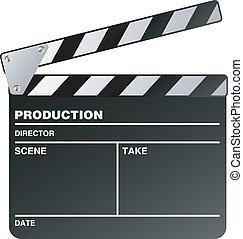 filme, fabricante, clapperboard