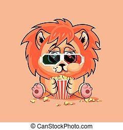 filme, filhote leão, observar