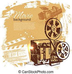 filme, fundo, com, mão, desenhado, esboço, ilustração