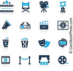 filme indústria, e, teatro, ícones, //, azure, série