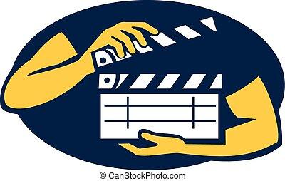 filme, mão,  retro, segurando,  oval, ripa