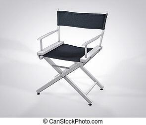 filme, set., isolado, diretor, estúdio, chair., hollywood, película, 3d