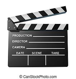 filme, symbol, schultafel, klatschen