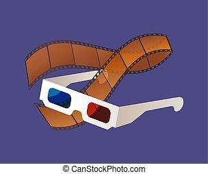 filme, vetorial, óculos, equipments, filmstrip