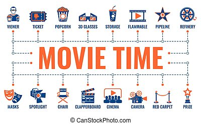 filmen, banner, biograf