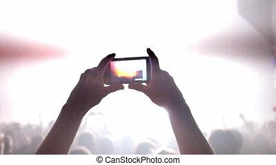 filmer, concert, foule
