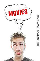 filmes, aproximadamente, homem, pensa, jovem