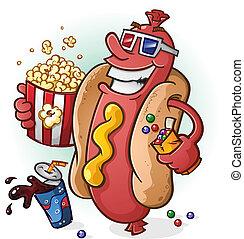 filmes, cachorro quente, caricatura