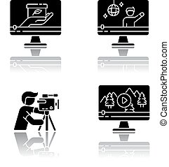 Filmmaking and videography drop shadow black glyph icons set
