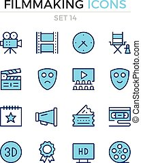 Filmmaking icons. Vector line icons set. Premium quality. Simple thin line design. Modern outline symbols, pictograms