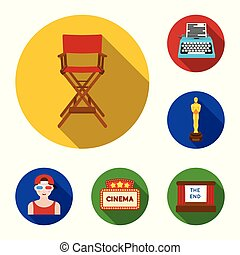 Films and cinema flat icons in set collection for designies and Attributes vector symbol stock web illustration.