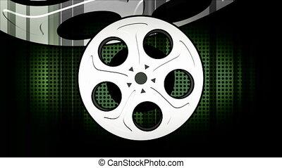 films, deux, faire boucle, version, retro, fond, animé, ...