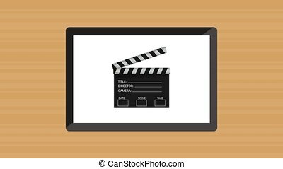 films, montre, tablette, ligne