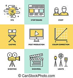 films, plat, poste, production, icônes
